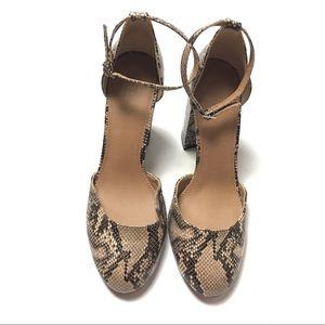 ASOS Block Heel Ankle Pumps Animal Print Shoes 10